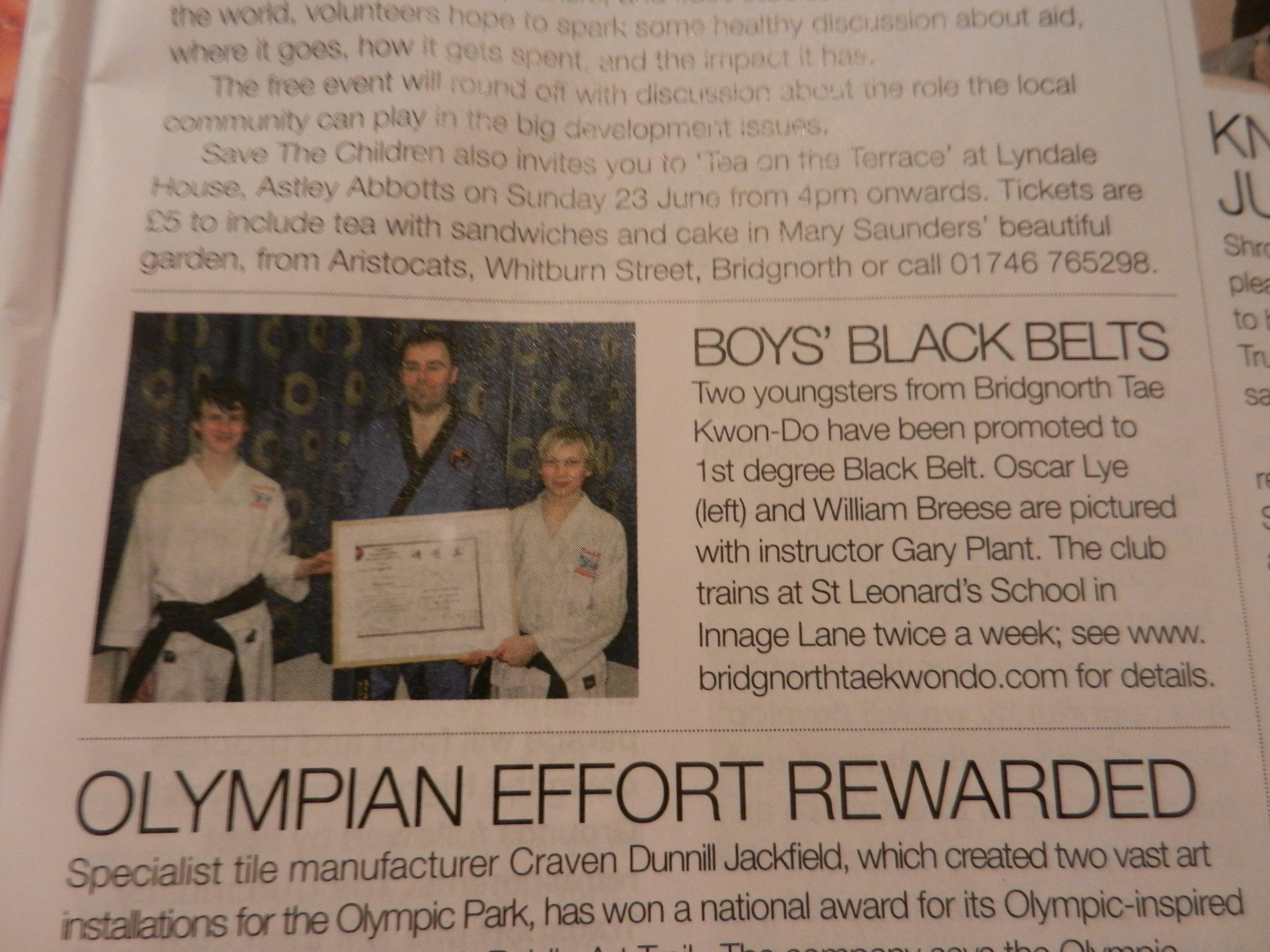 Celebrating Junior Black Belts: Shropshire Review, June 2013