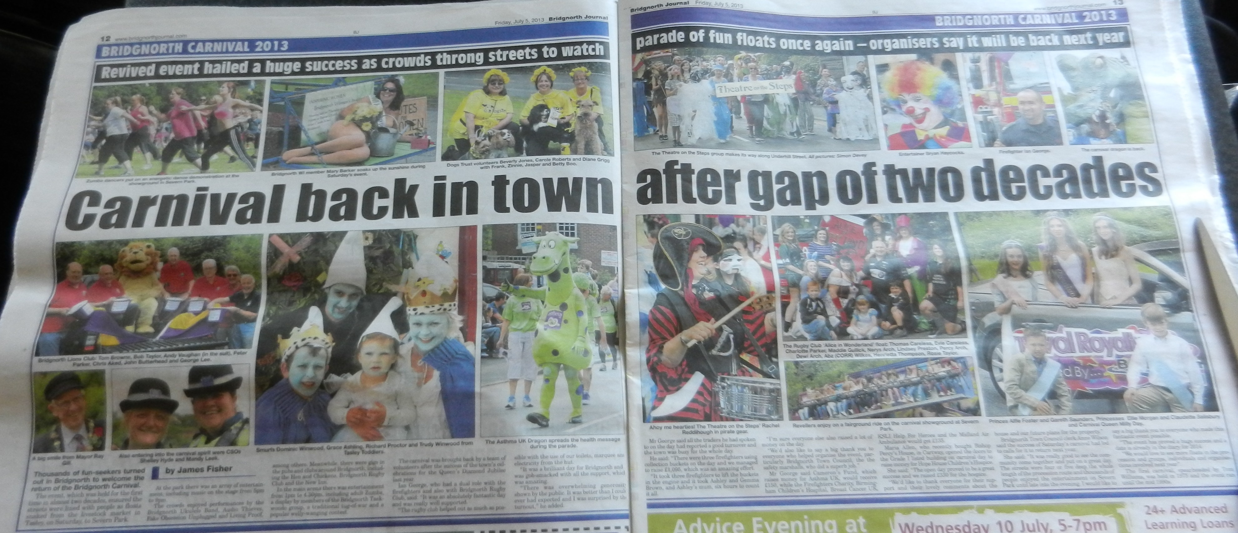 Bridgnorth Journal's article on the Bridgnorth Carnival, which we were proud to be a part of!