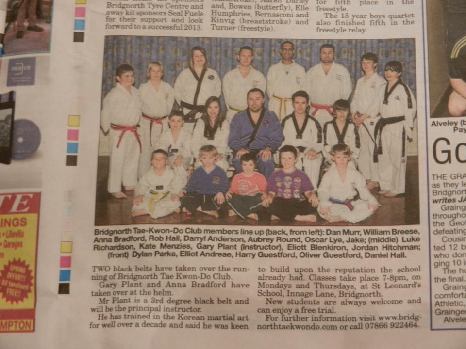 Bridgnorth Tae Kwon-Do is in print! Bridgnorth Journal, 21 December 2012, page 39!