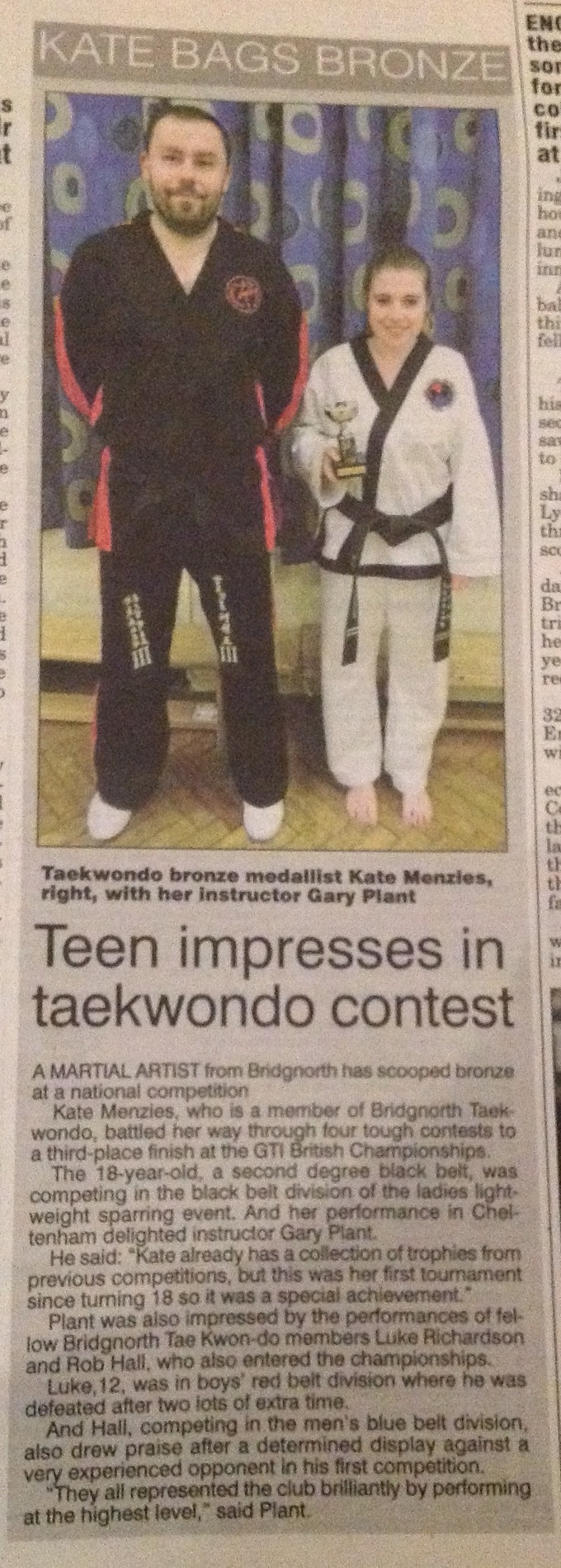 Shropshire Star, December 2013, celebrating Kate's silver in sparring at the GTI Nationals