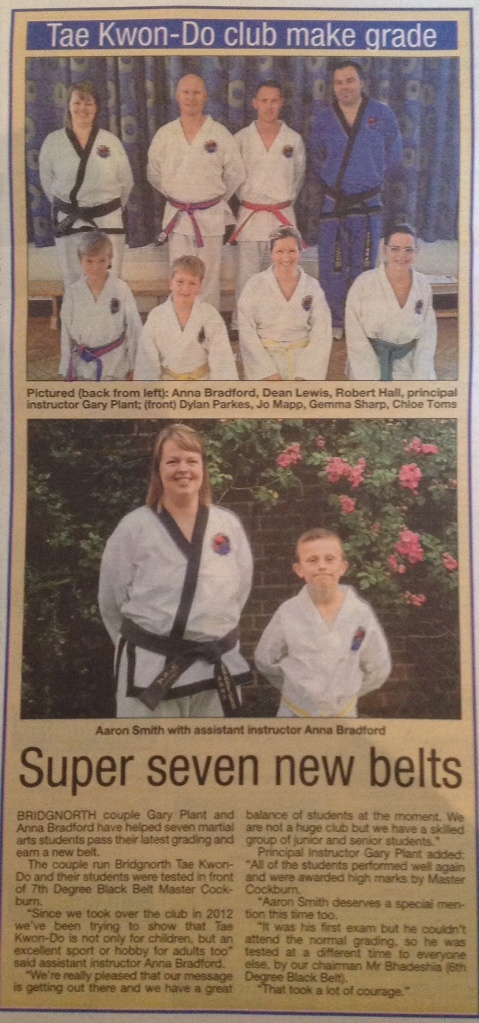 Colour belt grading success - Bridgnorth Journal, June 2014