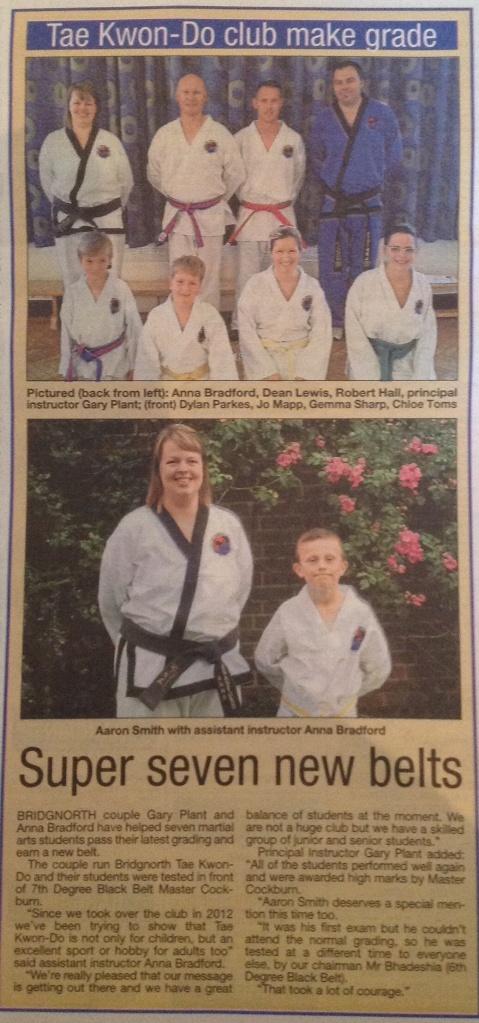 Colour belt grading success - Bridgnorth Journal, June 2014