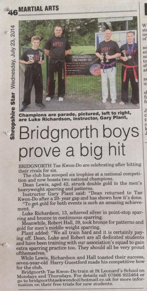 Bridgnorth Tae Kwon-Do boasts two National Champions! Shropshire Star, July 2014