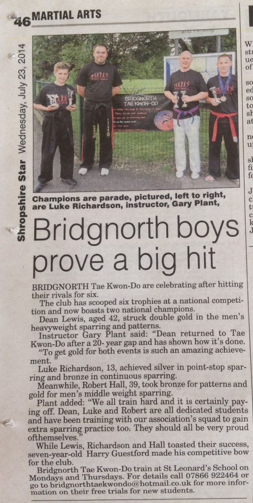 Bridgnorth Tae Kwon-Do boasts two National Champions! Shropshire Star, July 2014