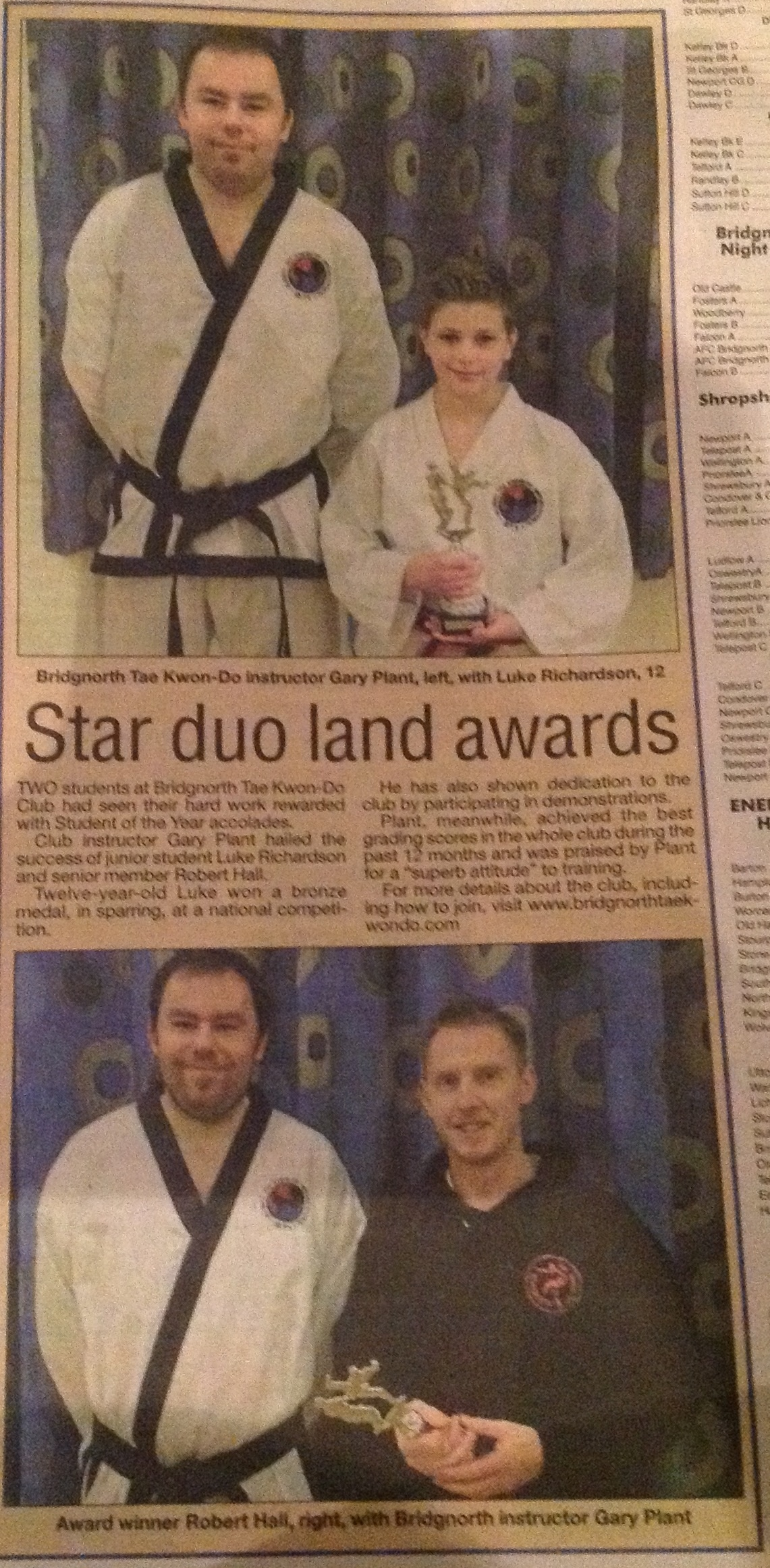 Celebrating our junior and senior Student of the Year in the Bridgnorth Journal, January 2014.