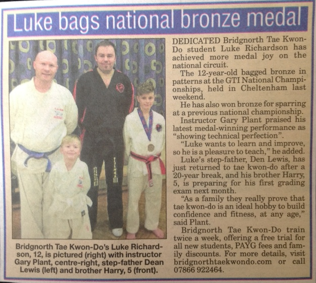 Dean, Luke and Harry showing that Tae Kwon-Do is good for all the family!