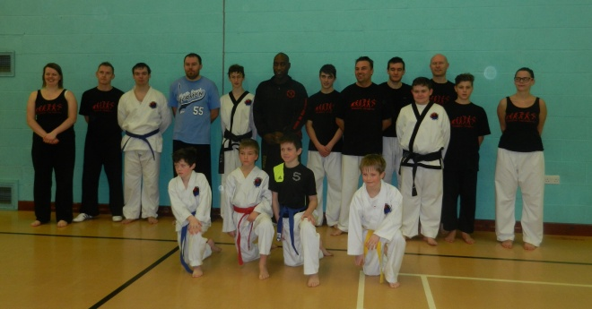 Bridgnorth Tae Kwon-Do members at Tony Sewell's sparring master class.